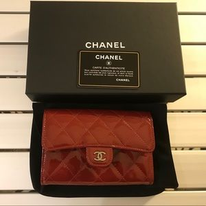 Chanel red patent leather small wallet